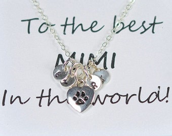 Dog Paw Necklace,Silver Personalized Initial Charm,Monogram Gift for Pet Lover, Personalized Necklace Gold, Paw Print Necklace,grandma gifts