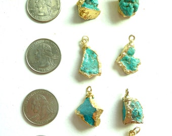 Vintage Turquoise Pendants Coated in 24 Carat Gold