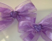 Purple Glitter Sheer Ponytail Hairclips Hair bows