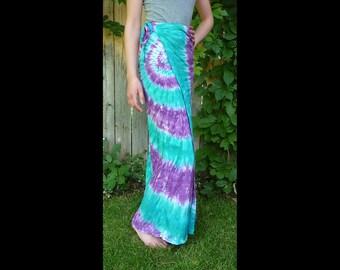 Womens rayon maxi skirt- tie-dye