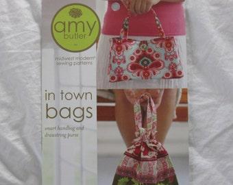 Amy Butler In Town Bags Smart Handbag Purse Patterns Drawstring Bag  Brand New