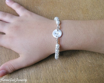 White Pearl bracelet, Baby Girl Bracelet, Initial pearl Bracelet, Flower girl bracelet, Stretch bracelets,