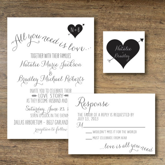 Printable Wedding Invitation All You Need Is By OhDarlingPaper
