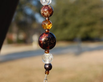 Purse Jewelry or Keychain in Brown/Amber Customized with your Initial Charm