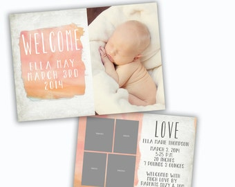PSD birth announcement card photoshop template for professional photographers - Y317
