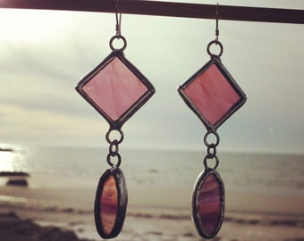 Handcrafted Stained Glass Drop Earrings