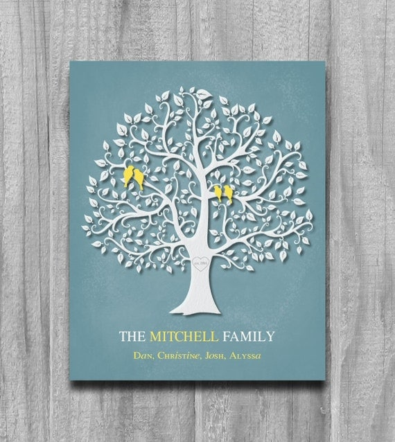 Personalized family tree birds print by printsbychristine for Family tree gifts personalized