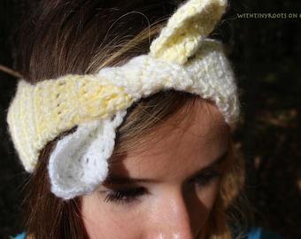 Hand Made Crochet Pastel Yellow and White Retro Style Tie Headband Ear Warmer