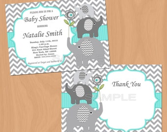Printable Baby Shower Invitation Elephant Baby Shower Invitation Baby Shower Invitation Invites (01) - Free Thank You Card Instant Download