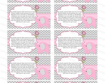 Bring a book insert card baby shower bring a book instead of a card elephant baby shower invitation insert baby shower invitation (50-1t)