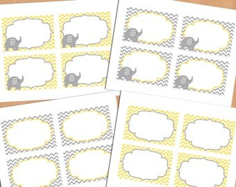 Printable Baby Shower Decorations Food Labels, Baby Place Card, Blank Place Cards, Place cards, Label Yellow (87)