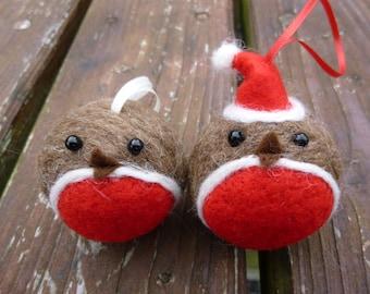 Handmade Needle Felted Robin bauble Christmas Tree Decoration made from British Shetland sheep wool