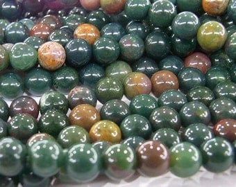6mm Round Bloodstone Beads Genuine Natural Mixed Colors 15''L Semiprecious Gemstone Bead Wholesale Beads Supply