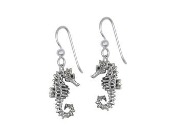Solid Sterling Silver Seahorse Earrings Jewelry SE3-E