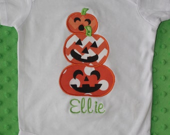 Halloween Applique Shirt-- Stack of Pumpkins-- Personalized