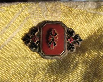 Antique Enamel Brooch with C-Clasp - Lovely Reds, Browns, and Blacks