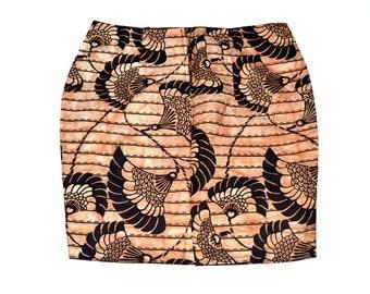 Peach Ankara Print Skirt, Pencil Skirt, African Print Skirt, Ankara Pencil Skirt, Mini skirt, Ankara Fabric Skirt By ZabbaDesigns