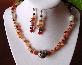 Red Fire Agate and Pearl Necklace with Antique Silver Balinese Focal and Earring Set