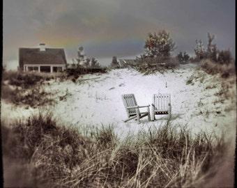 Photo Print - Sand Dune, Beach Grass, Adirondack Chairs, Rainbow, Summer Cottage, Cape Cod