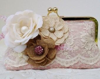 Bridal Clutch / Country Wedding  / Farmhouse Wedding / Bridesmaid Gift / Shabby Chic Wedding / Vintage Bride