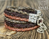 Natural leather, Sterling Silver  Bracelet with Chains- Womens Bracelet - Rustic Bracelet - Rocker Jewelry - AngelJK