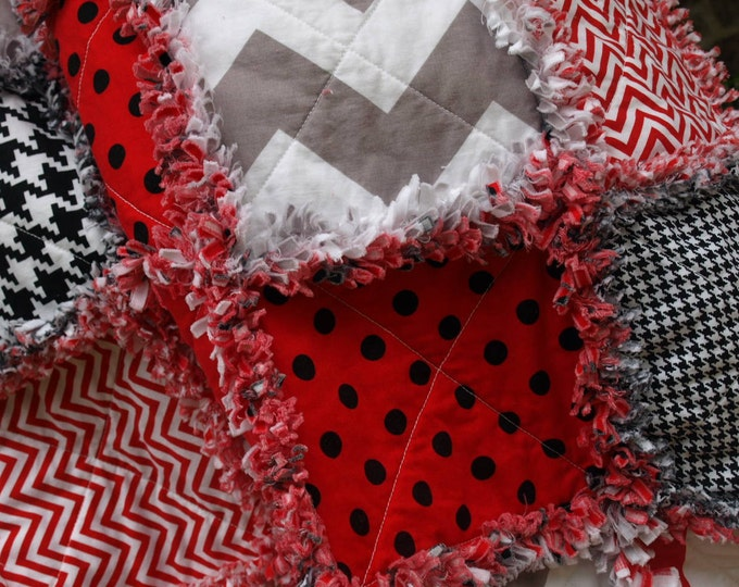 Houndstooth Red Black and Grey Rag Quilt - Chevron, Black, White, Stripes, Polka Dots, Reversible, Designer, Ready to Ship