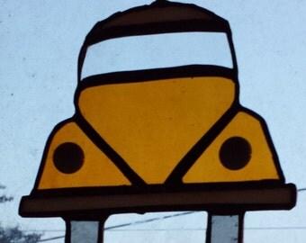 Yellow VW Beetle Bug Inspired Suncatcher