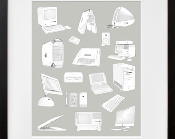 Evolution of the Apple Computer Poster  - Computer Geek Art Print - Macintosh Design - Apple Poster - Mac Poster - Computer Poster