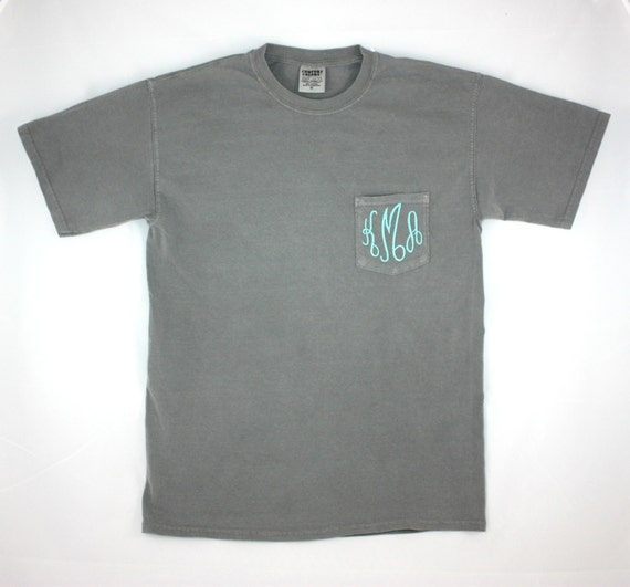 Comfort colors monogrammed t shirt monogrammed by sbmonograms for Custom t shirt design comfort colors