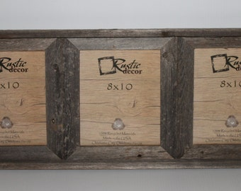 "8x10 -2"" wide Rustic Barn Wood Triple Opening Frame"