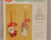 Vintage Bucilla kit felt Christmas Santa and snowman