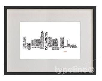 Portland Skyline - City Skyline - Typography - Poster - 11x17