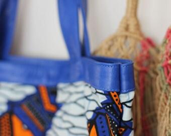 Electric Blue Leather >Robot Afrik Tote Bag>fantastic festival>summer or winter trends>must have>boho>Original Design by Cinta Kamu Store