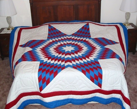 Lone Star Quilt Pattern Queen Size : New King Size Lone Star Quilt Red & Blue Hand by SusanCustomQuilts