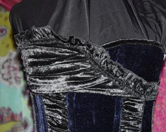 """Gothic Steel Boned Black and Blue Velvet Corset 23"""" - 26"""""""