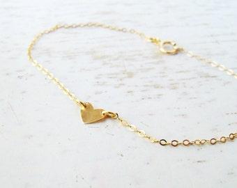 Heart Bracelet, Gold Heart Bracelet, Gold Friendship Bracelet, Gold Bracelet