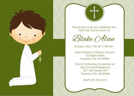 Digital First Communion Invitations for Boys