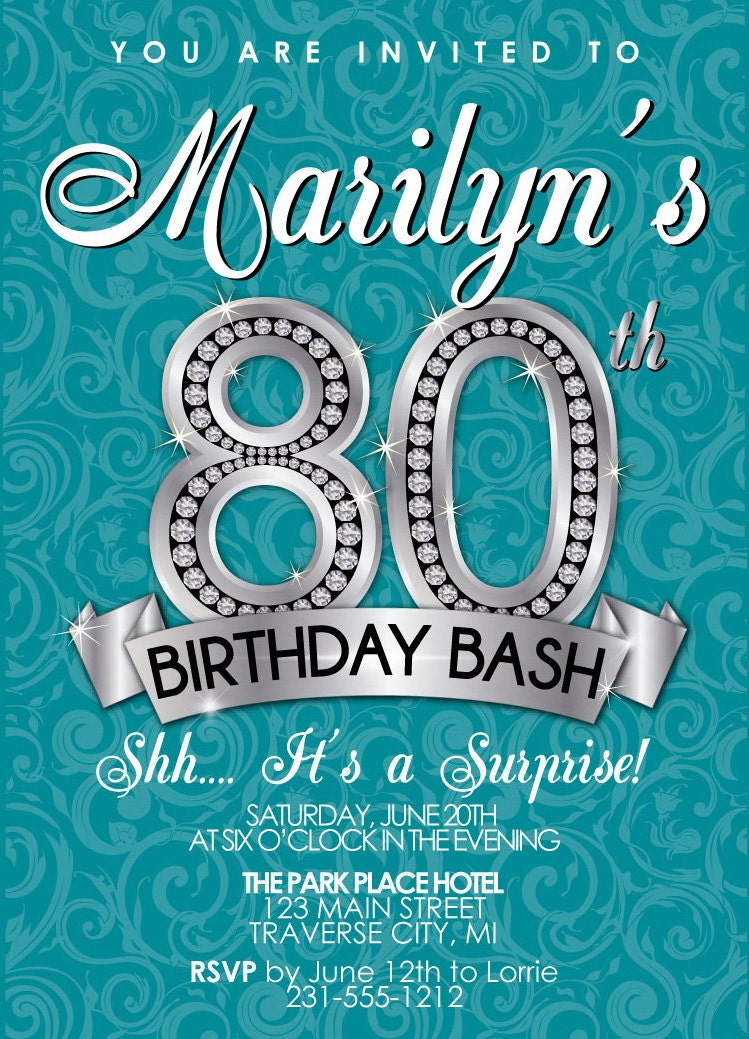 80th Birthday Invitation Adult