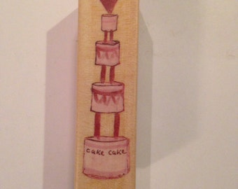 New Wood Mounted Rubber Stamp For Scrapbooking & Rubber Stamping...Wedding Cake#2