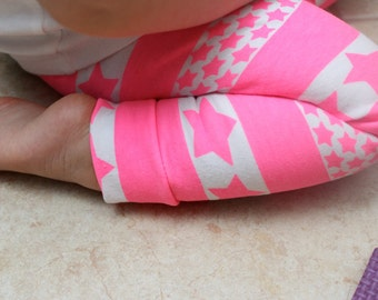 Baby Girl Leggings-Neon Pink Stripes and Stars