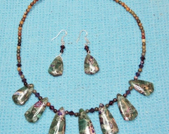 Breathtaking Necklace and Earrings with Fluorite Pyrite Pendant Beads, Deep Purple Swarovski Crystals and Multicolor Picasso Jasper Beads