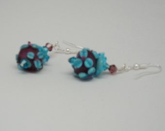 Lampwork Translucent Cranberry Turquoise Raised Petal Flower Purple Turquoise Swarovski Crystal Beads Wire Wrap 925 Sterling Silver Ear Wire