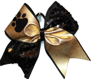 Cheer Bow,Gold,Black,Sequins,Paw Print