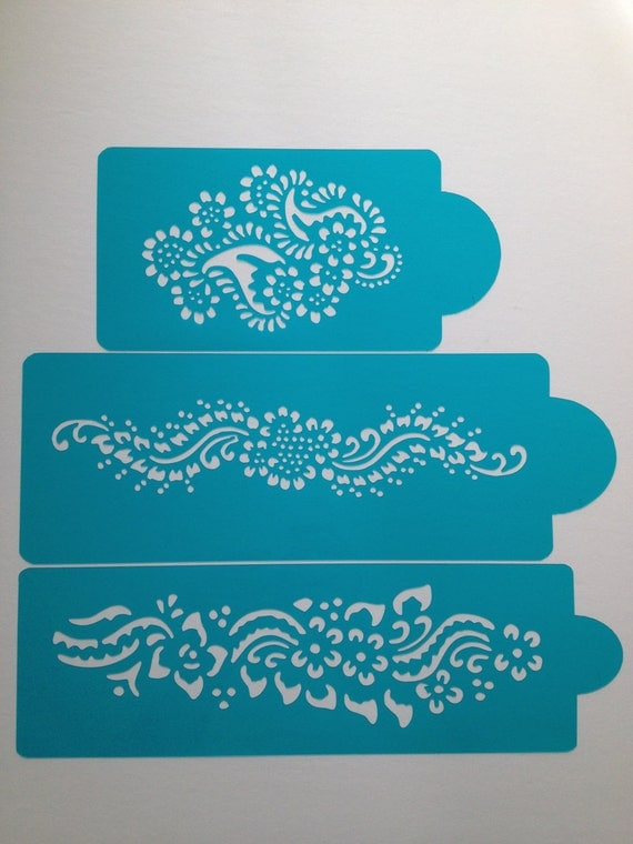 Henna Cake stencils 3 pieces cake decorating by Stenciland