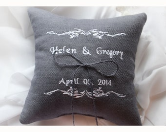 Personalized Wedding ring pillow , ring beare pillow , embroidered pillow , personalized ring pillow  , wedding pillow (R81)