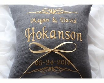 Ring bearer pillow ,wedding ring pillow , wedding pillow, ring pillow, Personalized wedding pillow , embroidered pillow (BRP16)