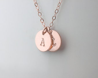 initial necklace. rose gold filled personalized  two discs initial necklace.  All rose gold filled necklace. friendship, couple necklace.