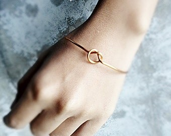 Buy5get1free Thick Love Knot Closed Bangle / Gold Tie the Knot Bracelet / silver tie the knot , copper , Bridesmaids gifts