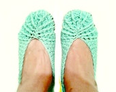 Crochet Slippers, Aquamarine with Brown Sole 100% Breathable Cotton House Slip Ons for Indoor Lounging by Knit Blossom
