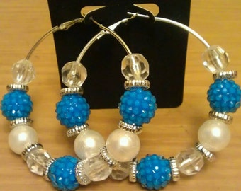 Love and Hip Hop and Basketball wives inspired hoop with blue and white beads